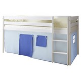 Spielbett Malte 90x200 cm Hellblau - Weiß/Dunkelblau, Natur, Holz (90/200cm) - MID.YOU