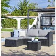 Loungegarnitur mit Sitzkissen 3-teilig Sky, Schwarz/ Creme - Creme/Schwarz, MODERN, Glas/Kunststoff (137cm) - Ombra