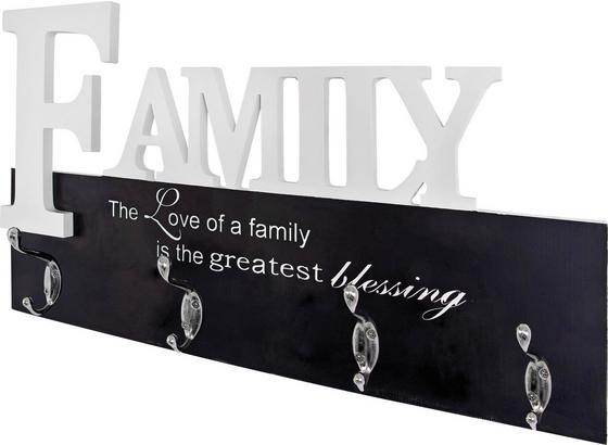 Lišta S Háčky Family 28307 - bílá/černá, Moderní, kov/kompozitní dřevo (50/29/7cm)