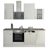 Küchenblock Wito 220cm Weiß - Weiß/Grau, MODERN, Holzwerkstoff (220/60cm) - FlexWell.ai