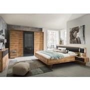 Futonbett inkl. Nachtkästchen 180x200 Valencia, Eichefarben - Eichefarben/Graphitfarben, Basics, Leder/Holzwerkstoff (302/92/210cm)