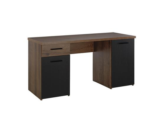 Psací Stůl Tokio - černá/barvy dubu, Moderní, kov/kompozitní dřevo (145/76,3/60cm)