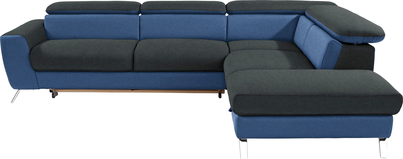 Wohnlandschaft in L-Form Upgrade 280x233 cm - Chromfarben/Blau, MODERN, Textil (280/233cm)