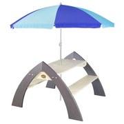 Kinder-Gartentisch mit Sonnenschirm Grau/Blau 119 cm - Naturfarben/Grau, MODERN, Holz (119/75/108cm)