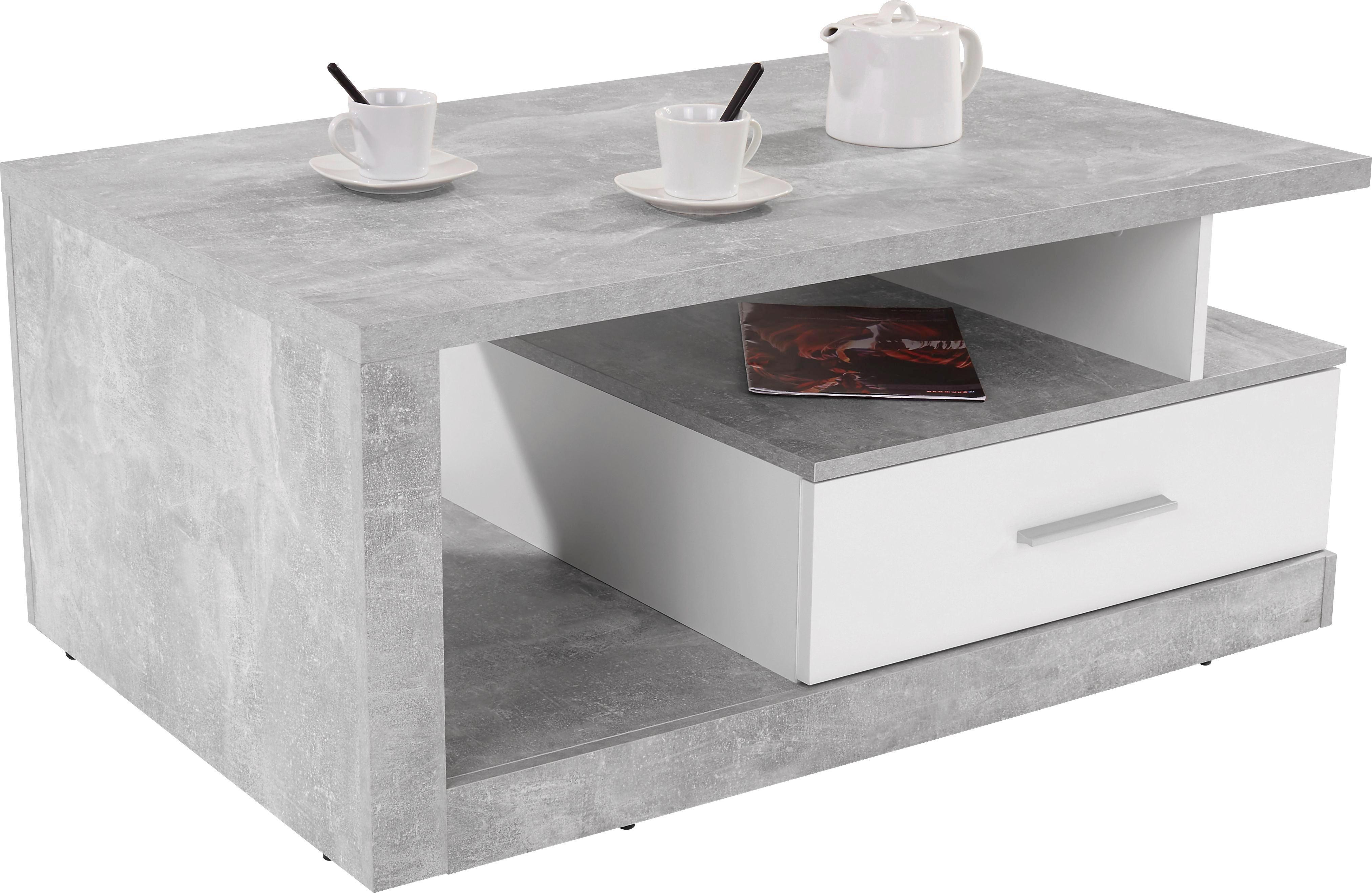 Dohányzóasztal Iguan - fehér/szürke, modern, faanyagok (110/45/67cm)
