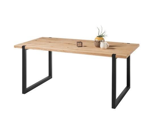 Jedálenský Stôl Melvin 180 - farby dubu/čierna, Konvenčný, kov/drevo (180/75/90cm)