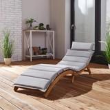 Relaxační Lehátko Bora - světle šedá/barvy akácie, Moderní, dřevo/textil (186/54/56cm) - MÖMAX modern living