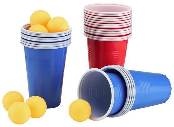 Beer-Pong-Set 48-teilig - Blau/Gelb, MODERN, Kunststoff