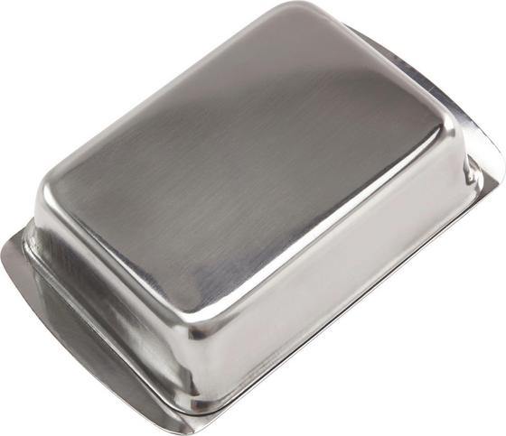 Butterdose Edelstahl - Silberfarben, KONVENTIONELL, Metall (16.5/10.8/5cm)