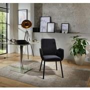 Stuhl Lounge Schwarz - Schwarz/Grau, MODERN, Textil/Metall (59,5/88,5/60,5cm) - Ombra