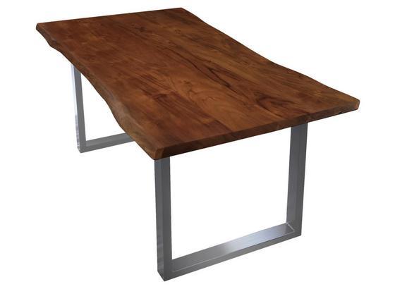 Esstisch B: 180 cm Akaziefarben - Silberfarben/Nussbaumfarben, Basics, Holz/Metall (180/77/90cm)