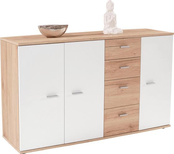 Komoda Graz Xr05 - bílá/barvy dubu, Moderní, kompozitní dřevo (155/82,4/35,5cm)
