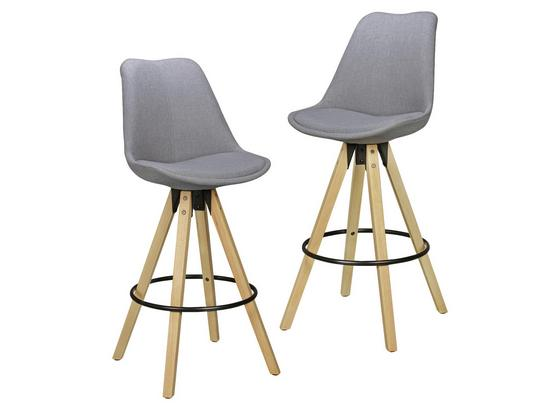 Barhocker-Set Lima 2-er Set Grau - Eichefarben/Grau, Design, Holz/Textil (49/113/49cm) - Livetastic