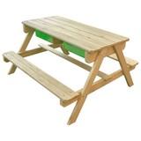 Multifunktionaler Kindertisch inkl. Tafel und Kunsstoffwanne - Naturfarben/Grün, Holz/Kunststoff (90/89/50cm)
