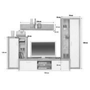 Wohnwand Modern 4 Tlg. mit Led Tuna 2, Eiche Dekor/Weiß - Eichefarben/Weiß, MODERN, Glas/Holzwerkstoff (270/192/40cm)