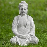 Buddha Sitzend - Creme, MODERN, Kunststoff (26/20/37cm)