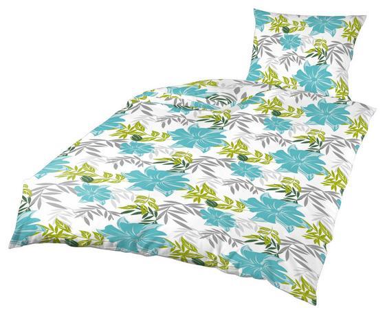Bettwäsche Klea mit Blumenmuster - Türkis/Weiß, MODERN, Textil