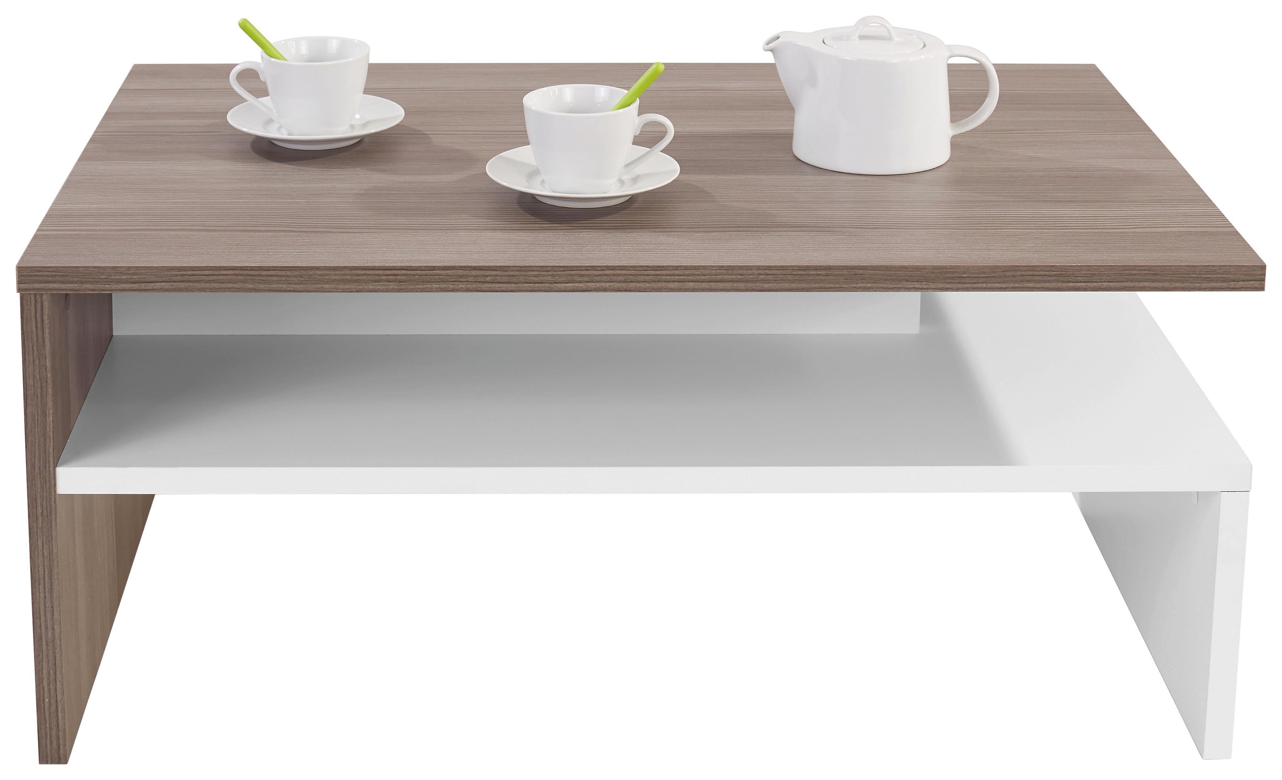 Konferenčný Stolík Laura - farby dubu/biela, Moderný, drevený materiál (90/42/60cm)