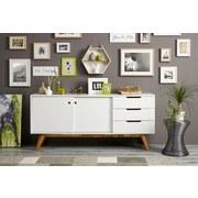Komoda Sideboard Durham - bílá/přírodní barvy, Moderní, dřevo/kompozitní dřevo (180/80/45cm) - Mömax modern living