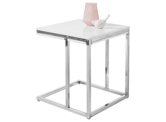 Couchtisch Reno Mini B: 45 cm Weiß - Silberfarben/Weiß, Design, Holzwerkstoff/Metall (45/50/45cm) - Livetastic