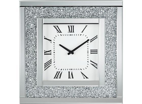 Nástenné Hodiny Diamant - strieborná, Moderný, drevo/kompozitné drevo (51/51/5cm) - Mömax modern living