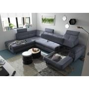 Wohnlandschaft in U-Form Alba ca. 233x349x177 cm - Silberfarben/Grau, MODERN, Textil (233/349/177cm) - Carryhome