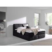 Boxspringbett mit Topper 180x200cm Flora - Schwarz, MODERN, Textil (180/200cm) - Livetastic