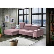 Wohnlandschaft in L-Form Brunello Rosa - Pink/Schwarz, KONVENTIONELL, Textil (175/280cm) - Livetastic