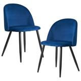 Stuhl Blau Gepolstert 2er-Set - Blau/Schwarz, KONVENTIONELL, Textil/Metall (52/77,5/47cm) - MID.YOU