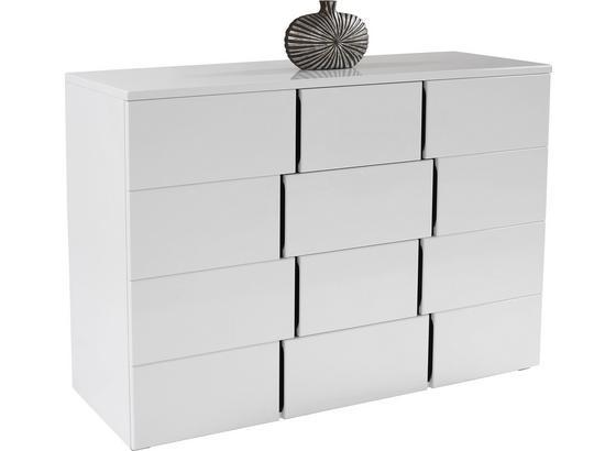 Komoda Split 2t4l - bílá/černá, Moderní, kompozitní dřevo (150/90/42cm)
