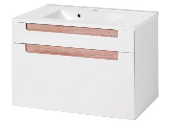 Waschtischkombi Siena 80cm Weiß/sonoma Eiche - Weiß/Sonoma Eiche, MODERN, Holzwerkstoff/Kunststoff (80/54/47cm)