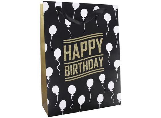 Geschenktasche Golden Birthday S - Goldfarben/Schwarz, MODERN, Karton (23/18/10cm)