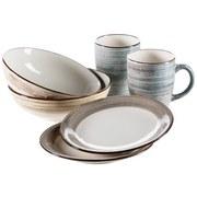 Frühstücksset 6-Tlg Duole Beige, Blau, Braun - Blau/Beige, Basics, Keramik