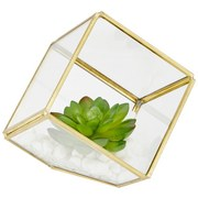 Kunstpflanze Cade - Klar/Grün, Basics, Glas/Kunststoff (11,7/12cm) - Luca Bessoni