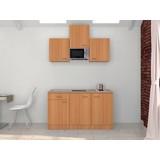 Küchenblock Nano 150 cm Buche - Edelstahlfarben/Buchefarben, MODERN, Holzwerkstoff (150/60cm)