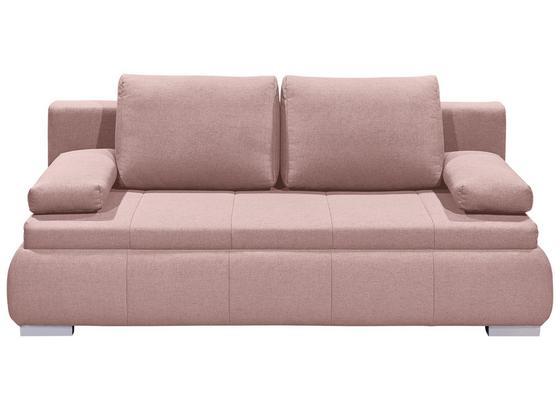 Schlafsofa Norman Lux.3Dl B: ca. 208 cm - Pink/Silberfarben, KONVENTIONELL, Holzwerkstoff/Textil (208/95/105cm) - Carryhome