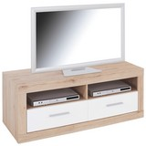 Tv Diel Malta - farby dubu/biela, Moderný, drevo (128/50/42cm)