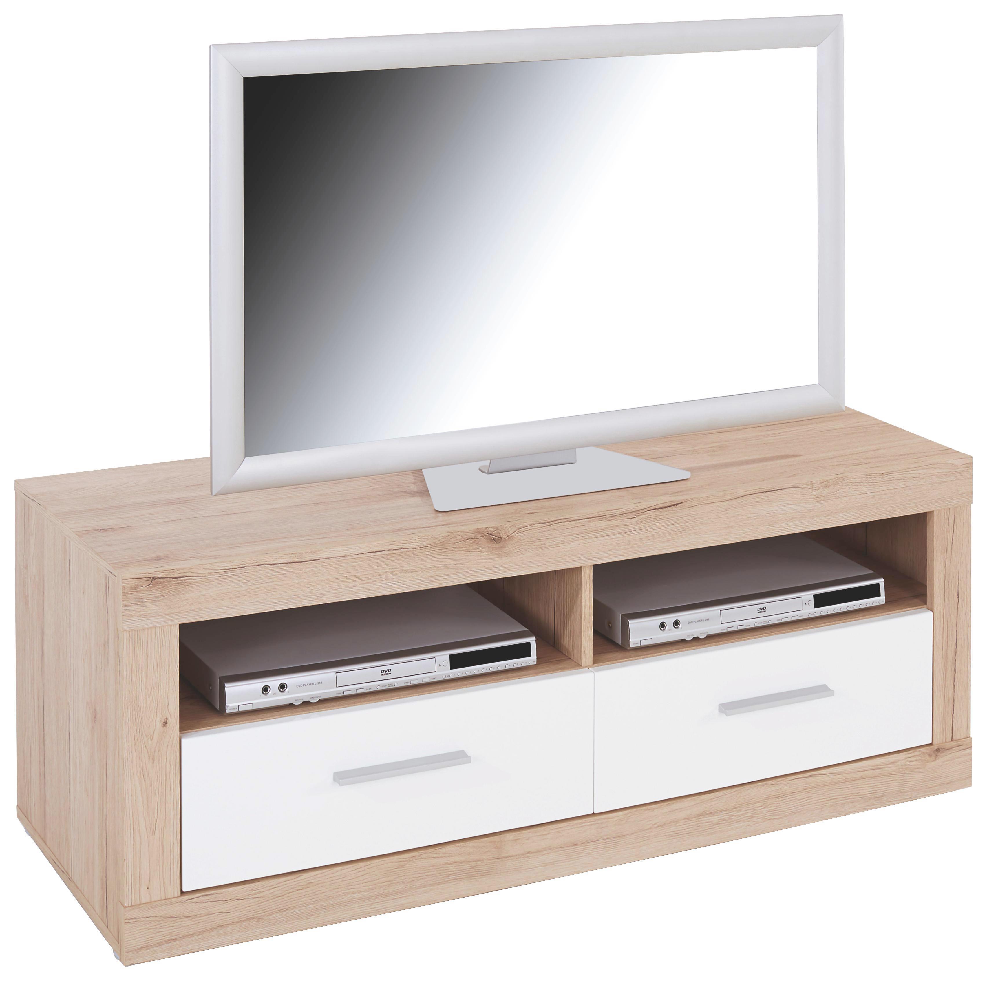 Tv-elem Malta - tölgy színű/fehér, modern, fa (128/50/42cm)