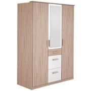 Drehtürenschrank mit Spiegel + Laden 135cm Cariba, Eiche/Weiß - Eichefarben/Weiß, Design, Glas/Holzwerkstoff (135/199/58cm) - MID.YOU