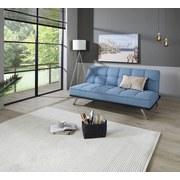 Schlafsofa mit Bettfunktion Roma Webstoff - Edelstahlfarben/Hellblau, Basics, Textil/Metall (179/84/96cm) - Ombra