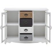 Komoda Florina - bílá/šedá, Moderní, dřevo/sklo (105/80/34cm) - Modern Living