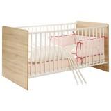 Postieľka Wiki Baby - biela/dub sonoma, Konvenčný, drevený materiál (144/80/82cm)