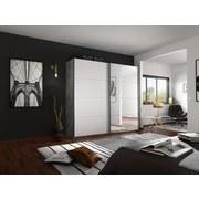 Schwebetürenschrank mit Spiegel 226cm Belluno, Weiß Dekor - Weiß/Grau, MODERN, Holzwerkstoff (226/230/62cm)