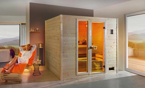 Sauna mit Glastür und Fenster