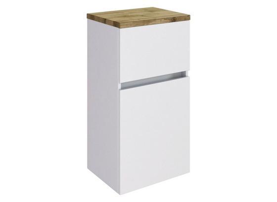 Unterschrank Pienza B: 40 cm Weiß - Silberfarben/Weiß, Basics, Holzwerkstoff (40/79/35cm) - Livetastic