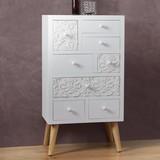 Komoda Valentina - biela/farby pínie, Moderný, drevený materiál/drevo (50/90/32cm) - Modern Living