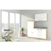Küchenblock Economy 160cm Weiß/Eiche Dekor - Edelstahlfarben/Eichefarben, MODERN, Holzwerkstoff/Metall (160cm) - MID.YOU