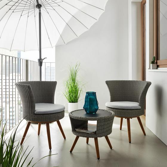 Sada Na Balkon Paola - bílá/světle šedá, Moderní, kov/textil - Modern Living