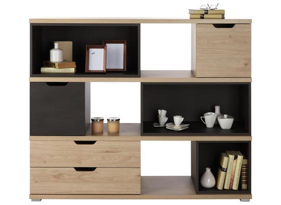 Komoda Highboard Player - farby dubu/tmavosivá, Moderný, kompozitné drevo (141/116/40cm)
