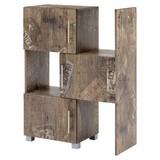 Regal mit Schranktüren Pisa B 46,3-78cm, Eichefarben - Eichefarben/Grau, Basics, Holzwerkstoff (46,3-78/102/35cm) - MID.YOU